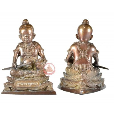 "KuManThong 3"" Statue Bless by LP Hong (B.E 2556) Sword & Money Bag Version"