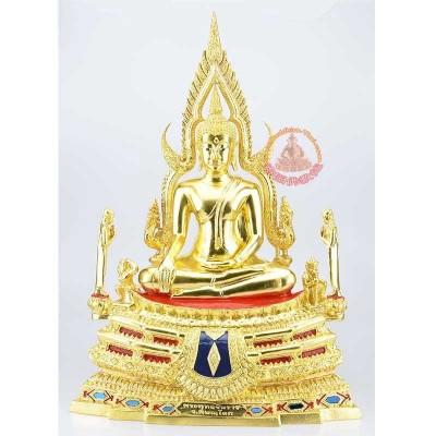 Phra Buddha ChinNaRat 7 Inches Lap Statue Gold Leaf Pasted