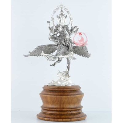 Phra Prom Riding Heaven Swan (2558) 20 Monks Mass Chanted, 18 cm Statue