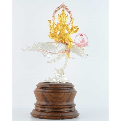 3K S/n:52 Phra Prom Riding Heaven Swan (2558) 20 Monks Mass Chanted, 18 cm Statue