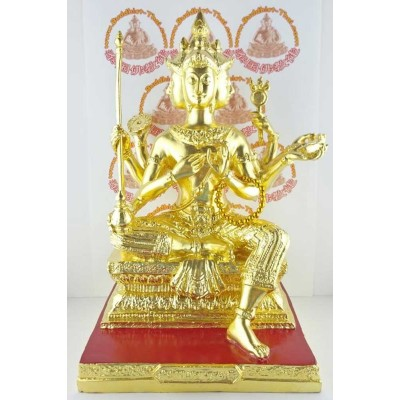 Phra Prom (BE 2547) LP Hoog, 5inch Statue Gold Plated