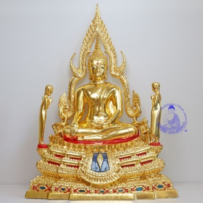 Phra Buddha ChinNaRat 5 Inches Lap Statue, Wat Yai (Gold Leaf Pasted)
