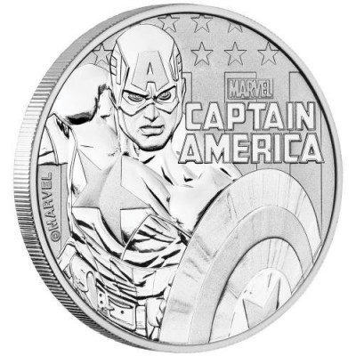 Limited Issue 1oz .9999 Pure Silver Coin Captain America with Card Australia Perth Mint