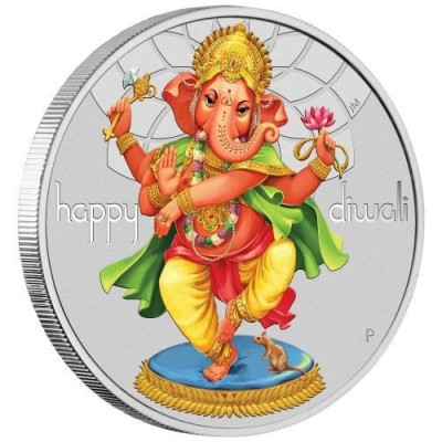 1oz .9999 Pure Silver Coin, Ganesha 2018, Australia Perth Mint