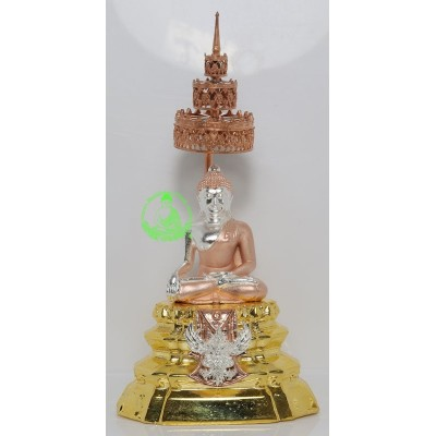 Phra SiHing Gold Plated 2562 Wat Phra Mahathat 12 cm Statue