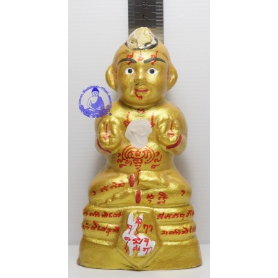 KuManThong 6.5 Inches Statue 2557 Bless By LP Yam Wat Sam Ngam, Handwritten Talisman