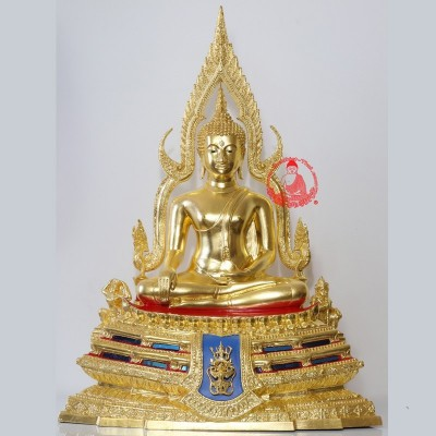 Special Batch SaoHa 2563 S/n:267 Phra Buddha ChinNaRat 9 Inches Lap Statue Wat Yai Gold Leaf Pasted